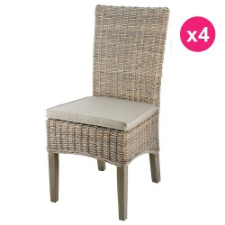 Set of 4 chairs in a half feet teak Kubu tinted gray KosyForm