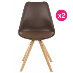 مجموعة من الكراسي 2 كوسيفورم البلوط قاعدة الخلد