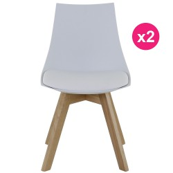 Set of 2 chairs white and oak KosyForm base