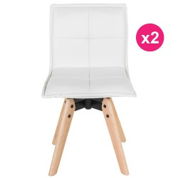 Lot de 2 Chaises Similicuir Blanc KosyForm