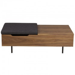 Low walnut with chest plate table integrated Isa KosyForm