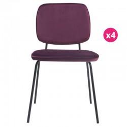 Satz von 4 Stühlen in lila samt Lide KosyForm Mahlzeiten