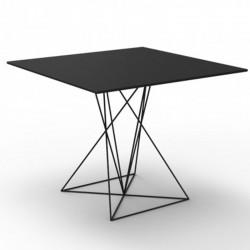 Table Faz Vondom Noir Piètement Inox Laqué 70x70xH72