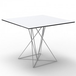 Table FAZ Vondom white base stainless steel lacquered 70x70xH72