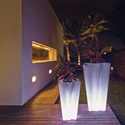 Set of 2 luminous pots bye bye Vondom led white height 70 and 100