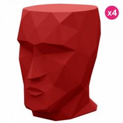 Conjunto de 4 Tabourets Adan Vondom vermelho