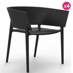 Set of 4 chairs Vondom design Africa black