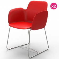 Набор из 2 стульев Vondom Pezzettina красный матовый и металлический