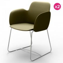 Confezione da 2 sedie VONDOM Pezzettina kaki opaco e metallo