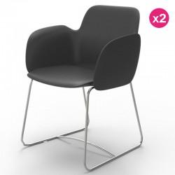 Pack de 2 sillas VONDOM Pezzettina antracita Matt y metal