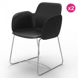 Confezione da 2 sedie VONDOM Pezzettina nero opaco e metallo