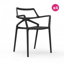 Set of 4 chairs Delta Vondom black