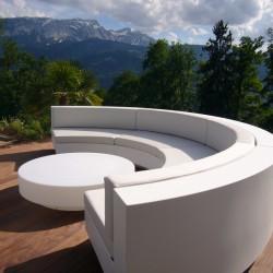 White Silvertex sofa curve Vela Vondom set with coffee table