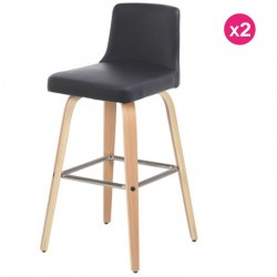 Lot de 2 chaises Plan de Travail Noir Similicuir et Contreplaqué Chêne KosyForm
