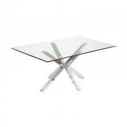 Dining Table Glass and Chrome Rectangular 180 Doli KosyForm