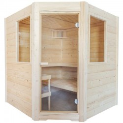 Sauna Steam Sentiotec Basic Corner with 9kw stove