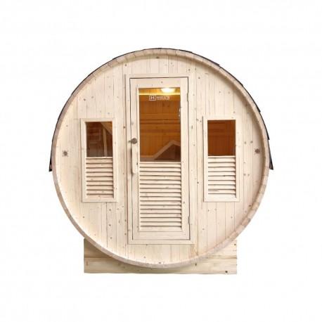 Outdoor Sauna Tonneau Sentiotec to Vapeur Pinnacle with Stove 6 KwHarvia
