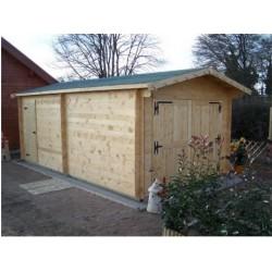 Habrita solid wood garage 21.7m2 with 42mm planks