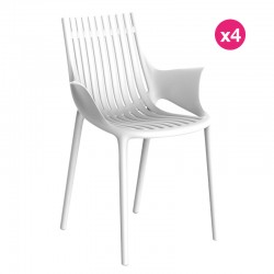 Set of 4 Vondom Ibiza armchairs with white armrests