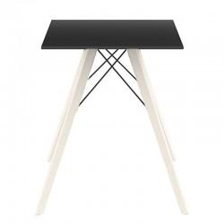 Table à manger Vondom Faz Wood plateau carré noir et pieds chêne blanchis
