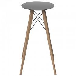 High Table Vondom Faz Wood Top Round Hpl Black and Feet Natural Oak Diameter 60 x H105cm