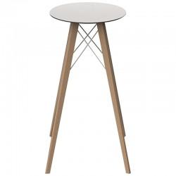 High Table Vondom Faz Wood Top Round Hpl White and Black Edge with Natural Oak Feet Diameter 60 x H105cm