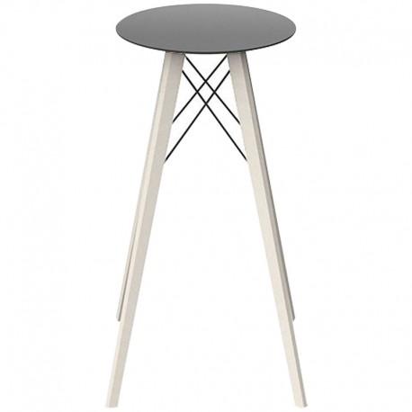 Table Haute Vondom Faz Wood Plateau Noir Rond Hpl Blanc avec Pieds Chêne Blanchi Diamètre 50 x H105cm