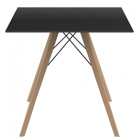Dining Table Vondom Faz Wood Tray 80 Black Carre and Feet Natural Oak