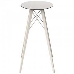 High Table Vondom Faz Wood Tray Round Hpl White and Black Edge with Feet Chene Bleached Diameter 50 x H105cm