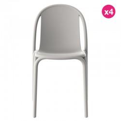 Lot de 4 chaises Vondom Brooklyn gris tourterelle
