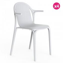 Lot de 4 fauteuils Vondom Brooklyn gris tourterelle