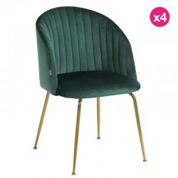 Lot de 4 Chaises en velours vert et pieds en acier finition dorée KosyForm
