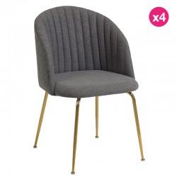 Lot de 4 Chaises en tissu gris et pieds en acier finition dorée KosyForm