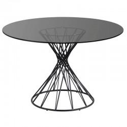 Table ronde Verre et Métal noir 120 KosyForm