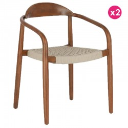 Set of 2 Chairs with armrest in black and beige eucalyptus KosyForm
