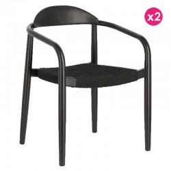 Lot de 2 chaises avec accoudoir en eucalyptus noir et naturel KosyForm